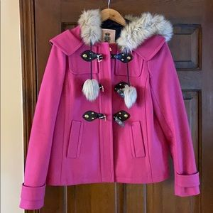 Juicy Couture pom pom coat pink with hood size S